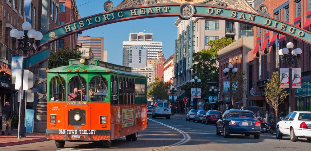 Trolley in Gas Lamp District